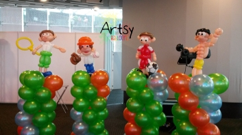 Sports theme balloon columns decorations