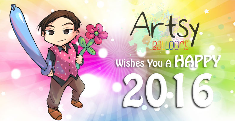 , Artsyballoons wishes you a Happy 2016, Singapore Balloon Decoration Services - Balloon Workshop and Balloon Sculpting
