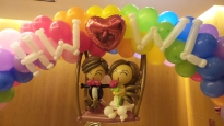 balloon wedding couple on swing