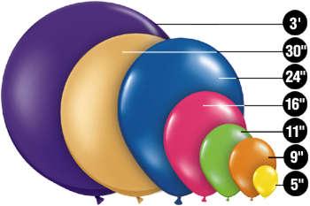 round balloon sizes