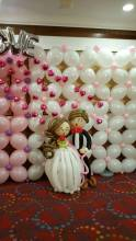 Balloon backdrop + wedding couple balloon decoration for a wedding in singapore