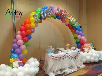 Rainbow balloon arch for singapore birthday party