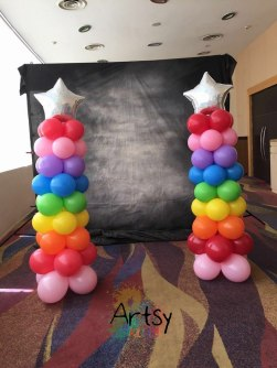 Rainbow balloon columns for singapore birthday party