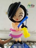balloon girl fishing sculpture
