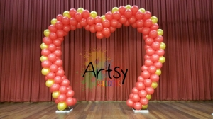 , Heart shaped balloon arch for a newlywed as their event venue balloon decorations!, Singapore Balloon Decoration Services - Balloon Workshop and Balloon Sculpting