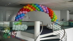 Rainbow balloon arch with clouds decoration singapore