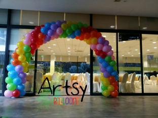 rainbow arch balloon decoration in singapore
