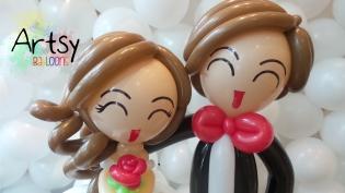 balloon wedding couple face