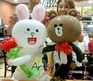 Wedding couple cony and brown artsyballoons customisation