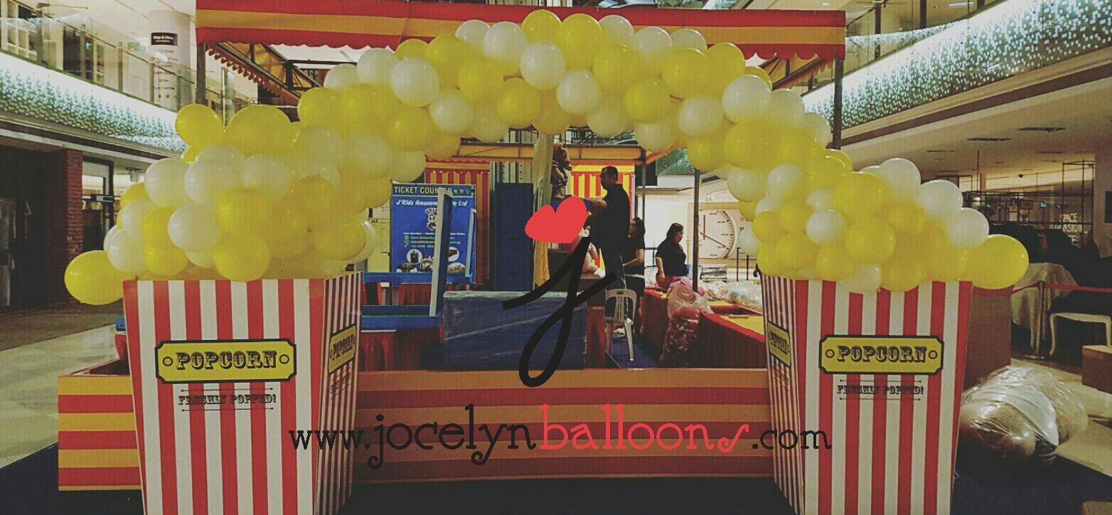 , Popping popcorn balloon arch!, Singapore Balloon Decoration Services - Balloon Workshop and Balloon Sculpting