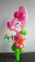 Rabbit balloon sculpture animal with ribbon bow and carrot