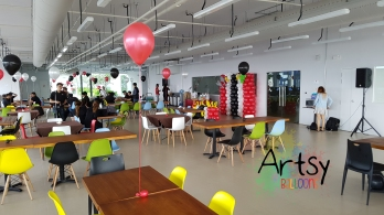 Red, black and white helium balloon decorations (2)