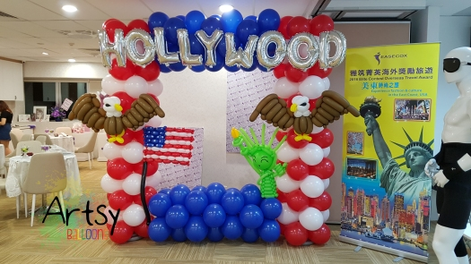 USA america themed balloon backdrop with eagles, america flag and statue of liberty