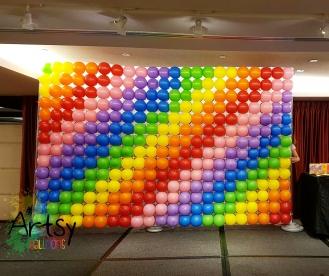 Rainbow pixel balloon backdrop for balloon decoration