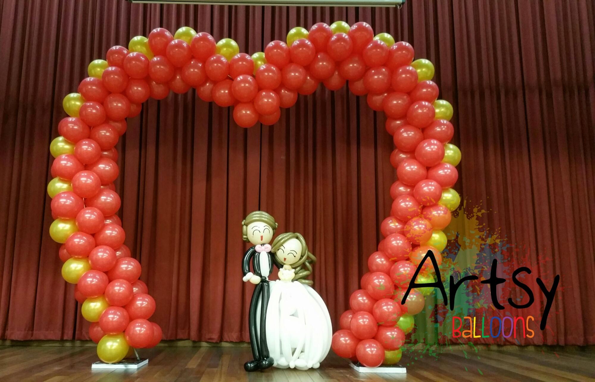 Valentine day theme balloon arch