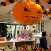 balloon decorations for halloween pumpkin sculpture hanged from ceiling