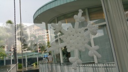 beautiful white balloon snow flake stick on glass panel