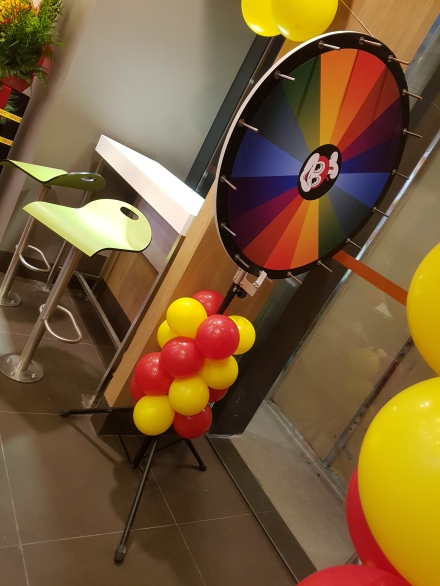 Setting up balloon decoration for Jollibee singapore (7)