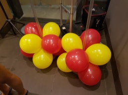 Setting up balloon decoration for Jollibee singapore