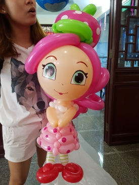 Strawberry Shortcake balloon sculpture