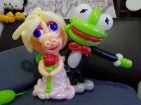 Miss Piggy and Kermit balloon sculpture for wedding event .jpg