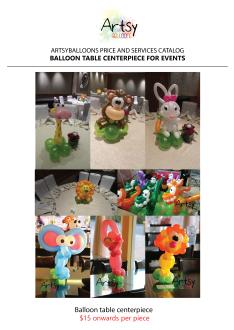 Balloon table centerpiece catalog