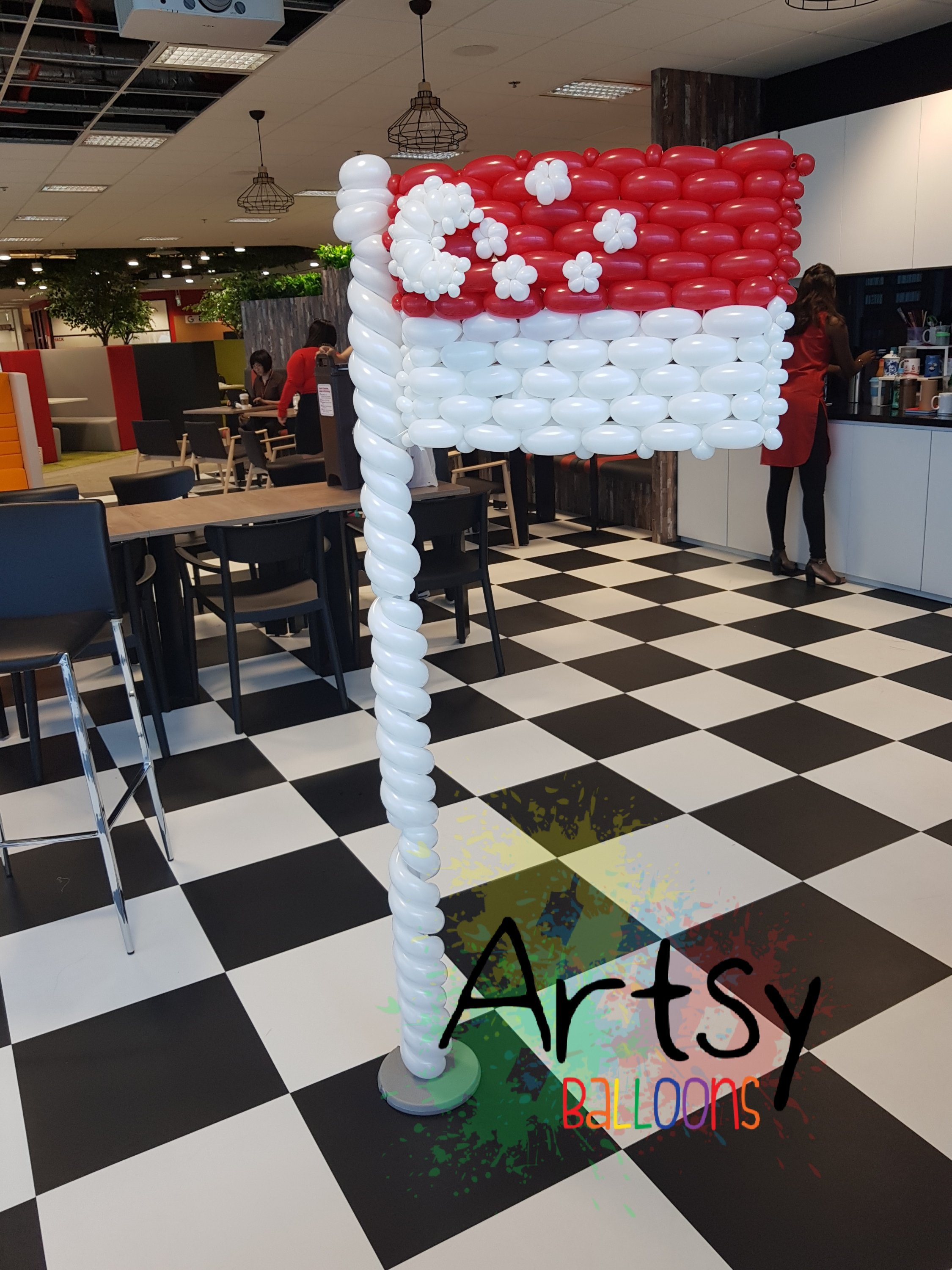 , Singapore themed balloon backdrop for DBS Singapore, Singapore Balloon Decoration Services - Balloon Workshop and Balloon Sculpting
