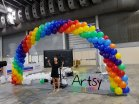 Rainbow balloon arch without clouds at the sides