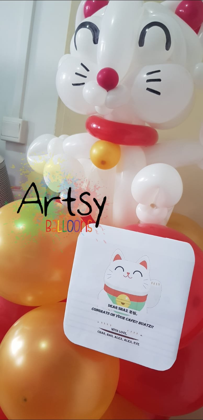 , Grand opening for a cafe! Balloon stands replacing flower stands!, Singapore Balloon Decoration Services - Balloon Workshop and Balloon Sculpting