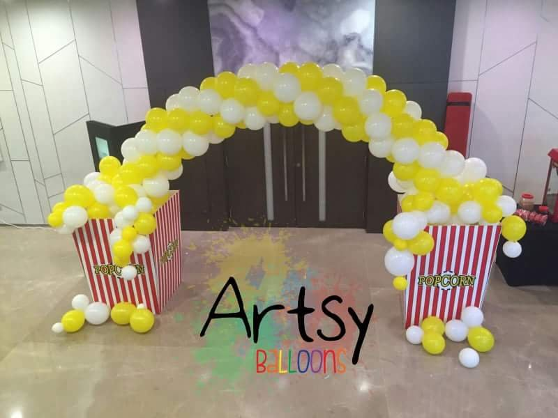 , Popcorn balloon arch for Carnival events!, Singapore Balloon Decoration Services - Balloon Workshop and Balloon Sculpting
