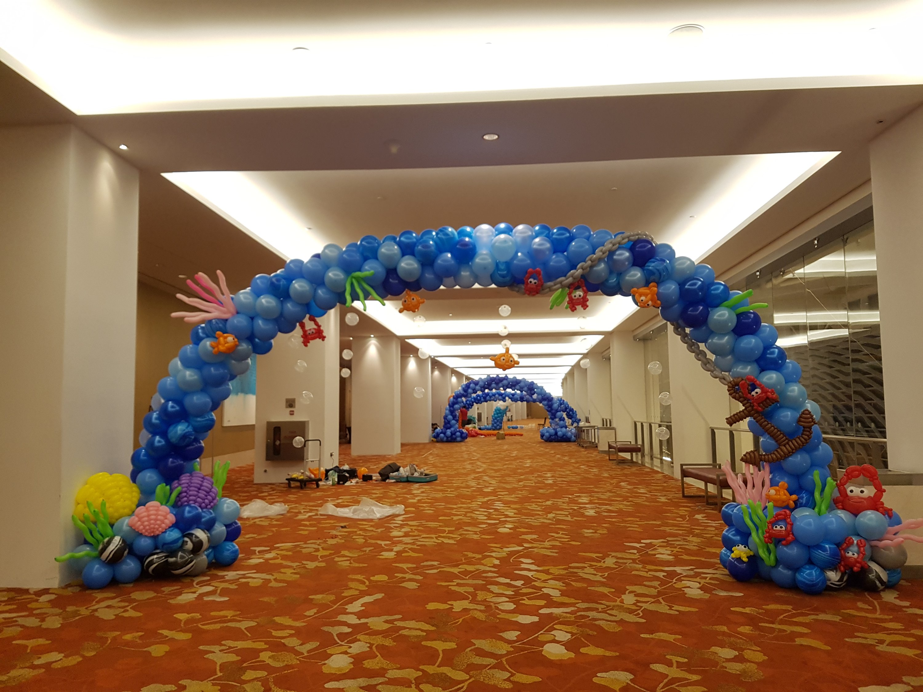 , Underwater themed balloon decorations at MBS!, Singapore Balloon Decoration Services - Balloon Workshop and Balloon Sculpting
