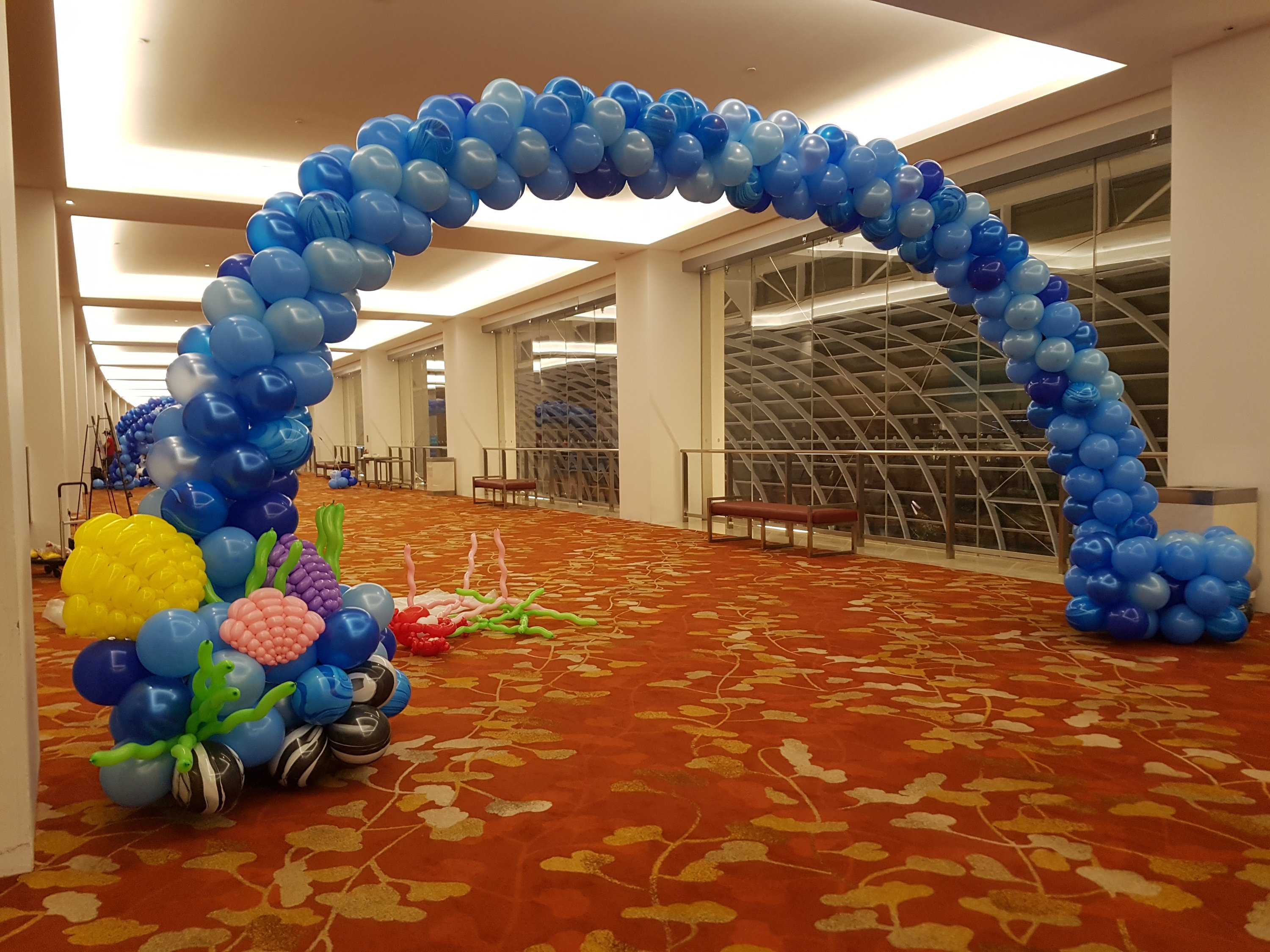 , Underwater themed balloon arch for MBS!, Singapore Balloon Decoration Services - Balloon Workshop and Balloon Sculpting