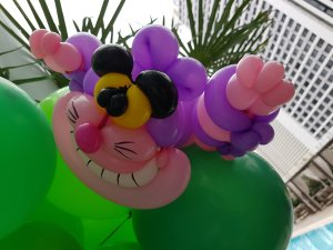 Alice in the Wonderland balloon decorations Cheshire Cat