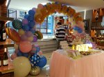 dessert table singapore with balloon decorations candy theme
