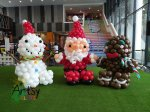 Santa Claus, snowman and Gingerbread man balloon sculpture decorations