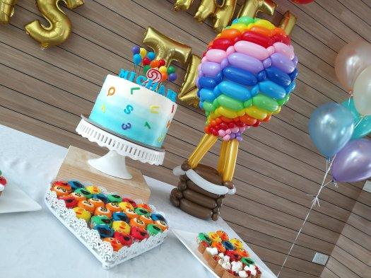 Rainbow hot air balloon sculpture