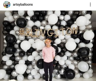 Organic Balloon Backdrop black, white and silver