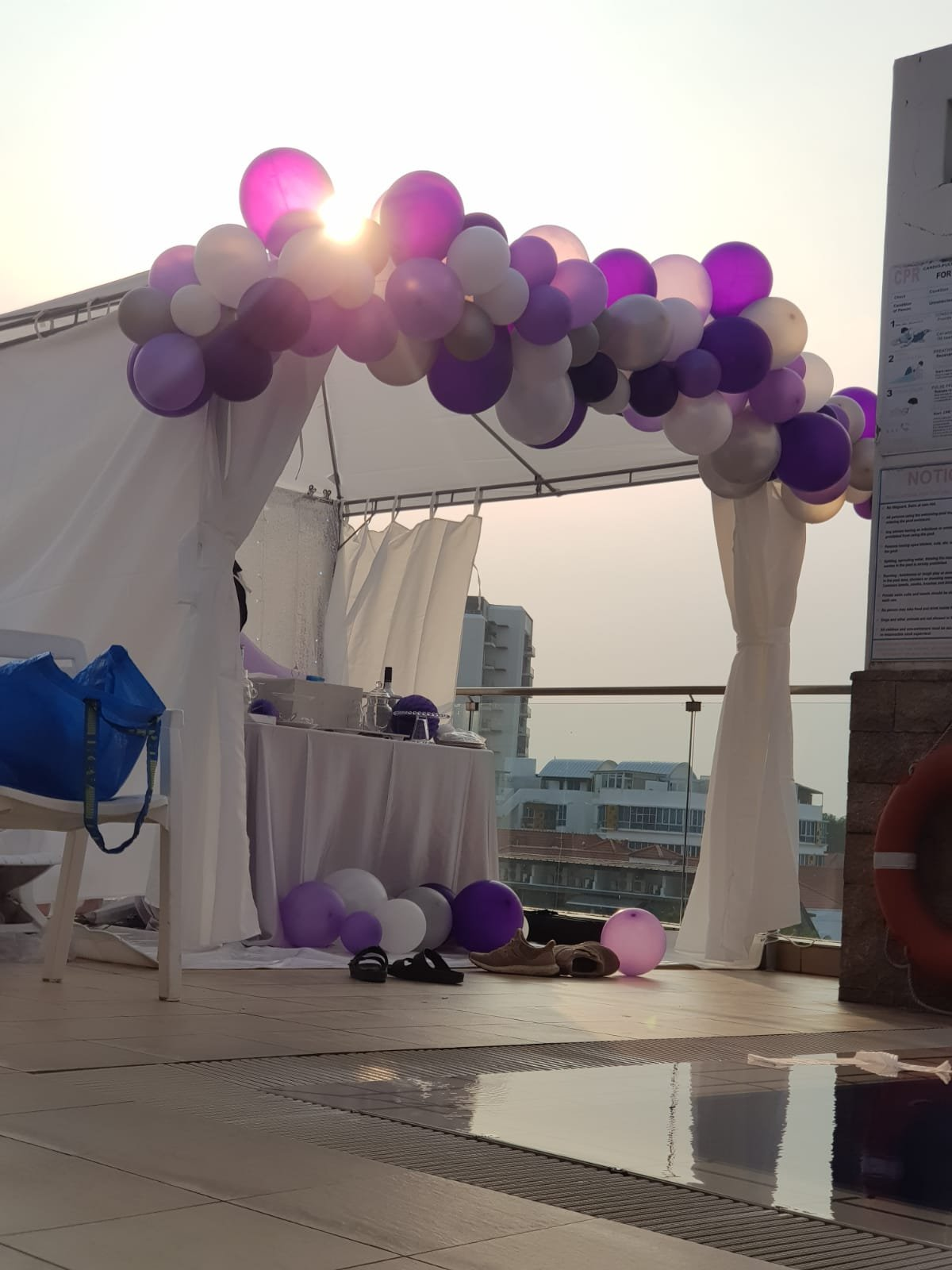 Purple, silver and white organic balloons