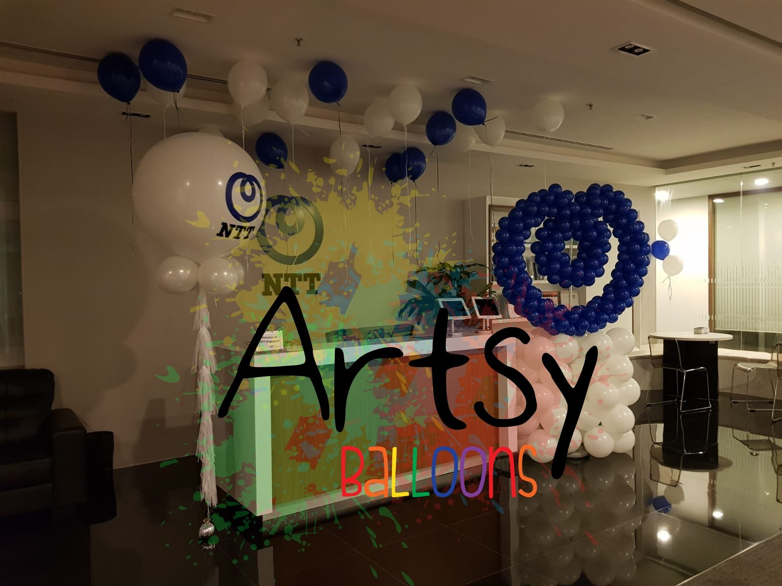 , Jumbo Helium Balloon with customised logo for NTT, Singapore Balloon Decoration Services - Balloon Workshop and Balloon Sculpting